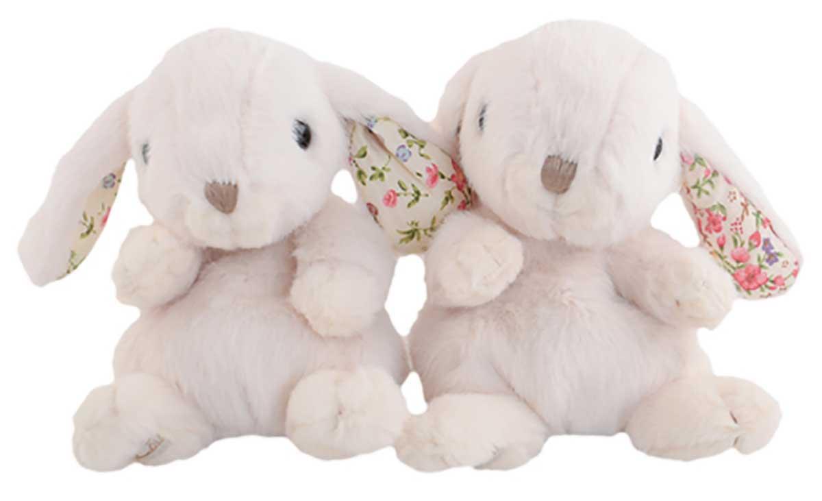 Bukowski Kanini Weiss Blumenmotiv Ohren Innen 15cm geeignet für Kleinkinder ab 6 Monaten