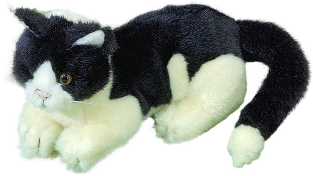 Förster Stofftiere 3470 schwarz-altweiße Katze liegend 20 cm Plüshtier
