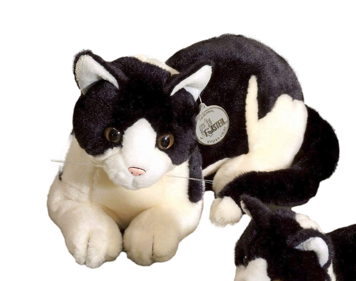Förster Stofftiere 3472 große liegende Katze 30 cm lang schwarz-weiß