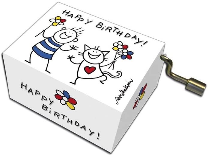 Fridolin 58344 Spieluhr Happy Birthday Katze und Junge Music Box Drehorgel Spielwerk