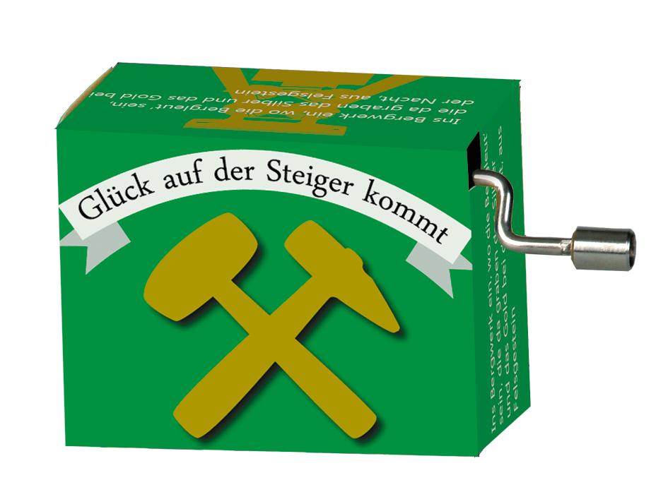 Fridolin Spieluhr Music Box Steigerlied grün 99228 Drehorgel Spielwerk Musikbox
