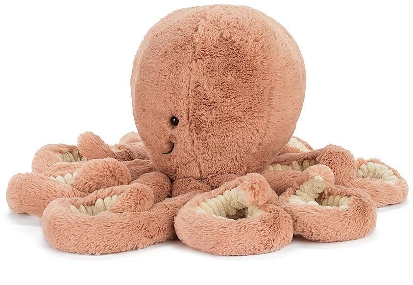 Lassen Sie sich von unserem Odell Octopus verzaubern! Eine herrliche flauschige, aprikosen-farbene Krake, die sie so gerne mag. Smiley und albern, mit hIhren Augen, ist sie ein sehr freundlicher Kopffüßer. Odell hat acht feine, lockige Arme mit kuscheligem und klassischem Fell. Kein Wunder, dass sie die besten Umarmungen im Ozean ist! Erfüllt die Europäischen Sicherheitsstandards für Spielwaren: EN71 Teil 1, 2 & 3, für alle Altersgruppen
