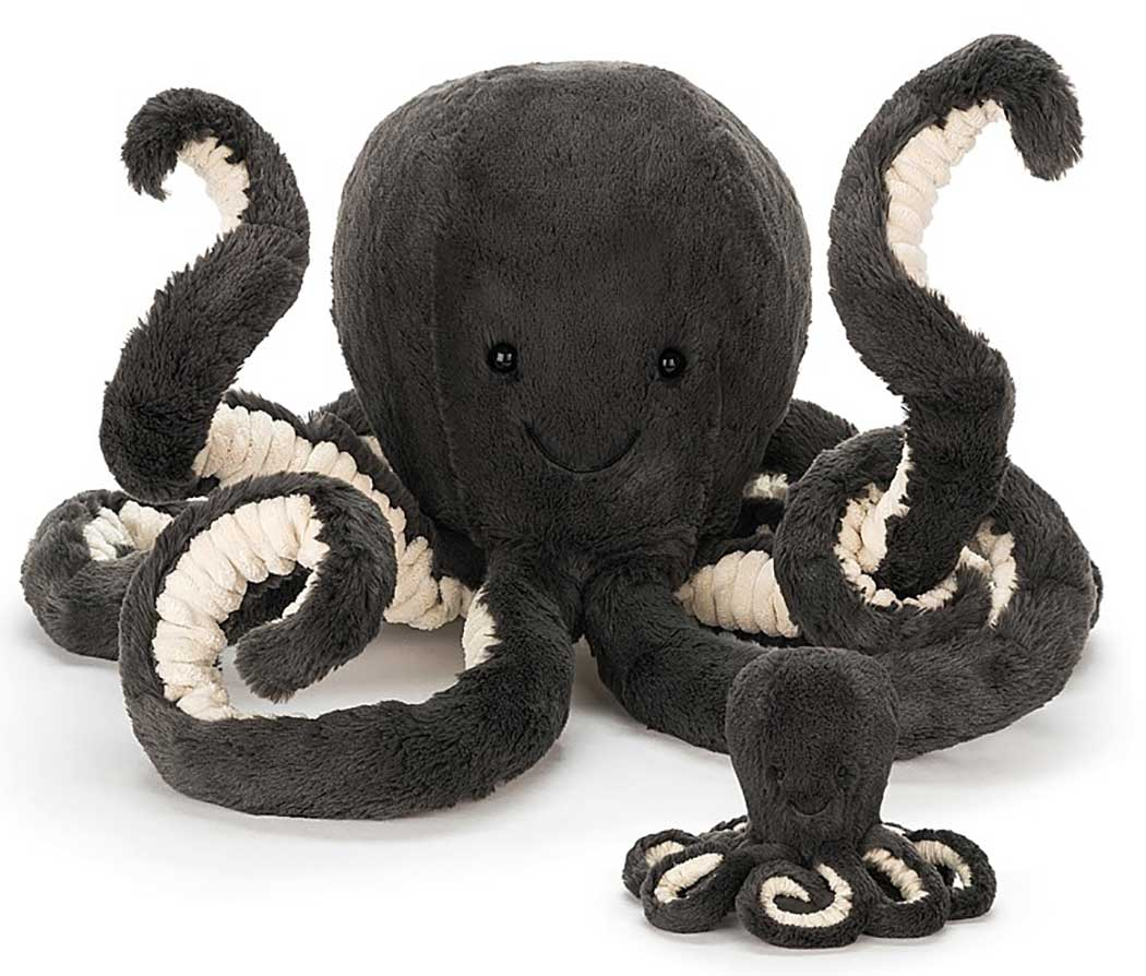 Inky Octopus gives the very best hugs - eight at a time! Blue-black and squashy, with scrummy cordy tentacles, this funny octopus loves to play! Pull those long, curly arms to watch them ping back into place! Inky loves to swish about, but prefers to ride on a good friend's head!