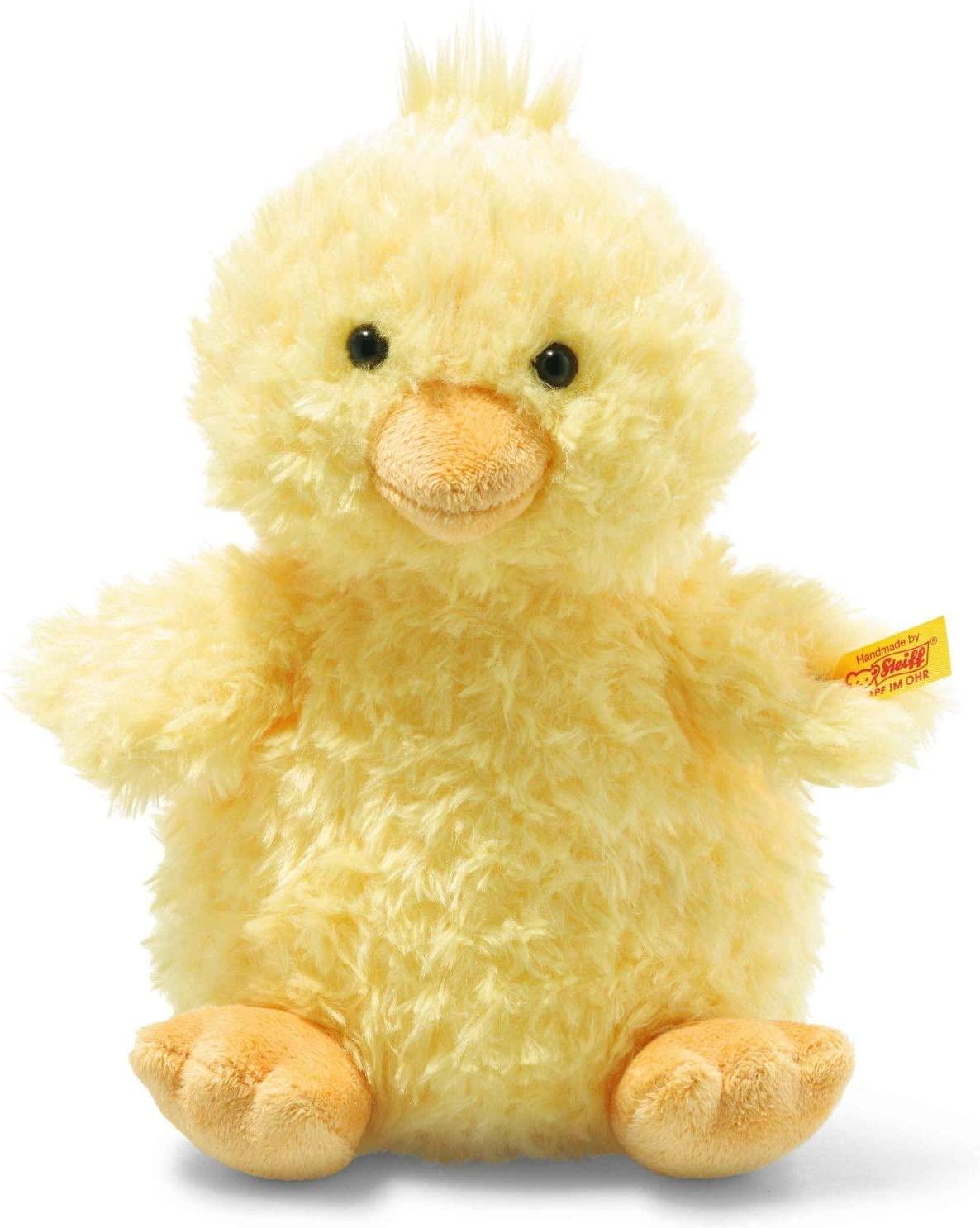 Steiff 073687 Original Plüschtier Pipsy Küken, Soft Cuddly Friends Kuscheltier ca. 22 cm, Markenplüsch mit Knopf im Ohr, Schmusefreund für Babys von Geburt an, gelb