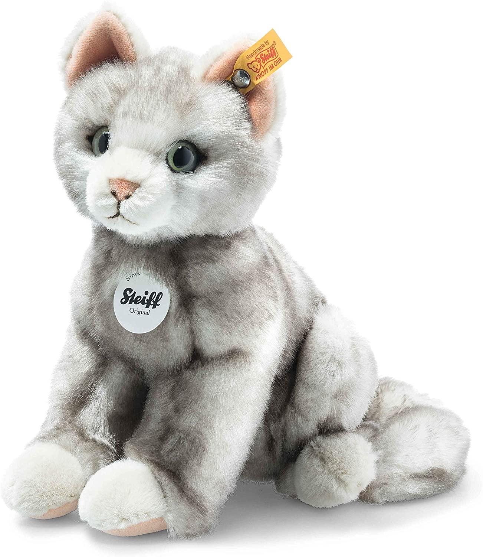 Steiff Filou Katze 21cm Kuscheltier für Kinder weich & kuschelig waschbar grau gespitzt (122316)
