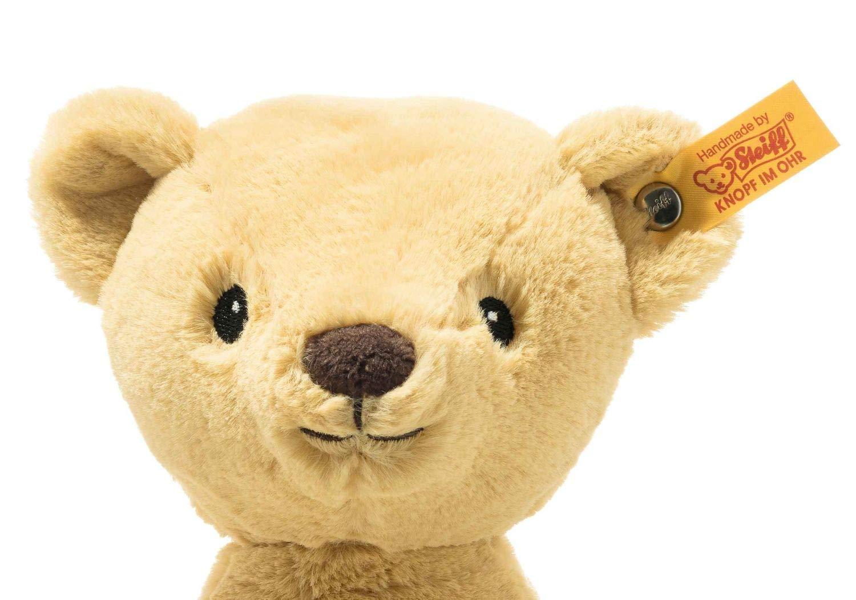 """Soft Cuddly Friends My first Steiff Teddybär- 26 cm - Kuscheltier für Babys – kuschelig & weich - waschbar - goldblond (242038) Unser My first Steiff Teddybäre ist ein treuer Begleiter ab der ersten Minute. Er schenkt Ihrem Baby Geborgenheit und ist kuschelig weich. Steckbrief My first Steiff Teddybär - Größe 26 x 19 x 11 cm - Fell: babyweicher Plüsch - Farbe: goldblond - Bei 30°C in der Waschmaschine waschbar Steiff Qualitätsversprechen Die Margarete Steiff GmbH ist die weltweit bekannteste Spielzeug- und Plüschtierherstellerin und steht für höchste Qualität seit 1880. Der Leitgedanke unser Firmengründerin Margarete Steiff """"Für Kinder ist nur das Beste gut genug"""" ist unsere Firmenphilosophie und prägt unsere Arbeit sowie jedes unserer Produkte. Alle unsere Tiere werden von Hand genäht und sind somit einzigartig. Jedes original Steiff Tier trägt voller Stolz den Steiff """"Knopf im Ohr"""" und zusätzlich als weiteres Erkennungszeichen ein Ohrfähnchen. Das ist der Beweis, dass es aus unserem Hause stammt. Steiff Tiere - nur echt mit dem Steiff """"Knopf im Ohr"""". Wir wünschen viel Vergnügen mit dem neuen Plüschtier - Ihr Steiff-Team"""