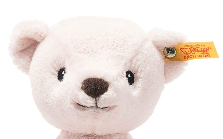 """Soft Cuddly Friends My first Steiff Teddybär- 26 cm - Kuscheltier für Babys – kuschelig & weich - waschbar - rosa (242045) Unser My first Steiff Teddybär ist ein treuer Begleiter ab der ersten Minute. Er schenkt Ihrem Baby Geborgenheit und ist kuschelig weich. Steckbrief My first Steiff Teddybär - Größe 26 x 19 x 11 cm - Fell: babyweicher Plüsch - Farbe: rosa - Bei 30°C in der Waschmaschine waschbar Steiff Qualitätsversprechen Die Margarete Steiff GmbH ist die weltweit bekannteste Spielzeug- und Plüschtierherstellerin und steht für höchste Qualität seit 1880. Der Leitgedanke unser Firmengründerin Margarete Steiff """"Für Kinder ist nur das Beste gut genug"""" ist unsere Firmenphilosophie und prägt unsere Arbeit sowie jedes unserer Produkte. Alle unsere Tiere werden von Hand genäht und sind somit einzigartig. Jedes original Steiff Tier trägt voller Stolz den Steiff """"Knopf im Ohr"""" und zusätzlich als weiteres Erkennungszeichen ein Ohrfähnchen. Das ist der Beweis, dass es aus unserem Hause stammt. Steiff Tiere - nur echt mit dem Steiff """"Knopf im Ohr"""". Wir wünschen viel Vergnügen mit dem neuen Plüschtier - Ihr Steiff-Team"""