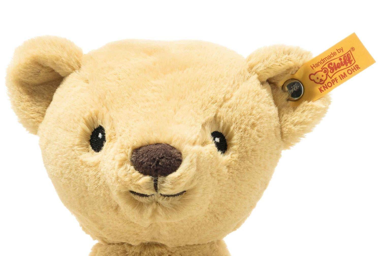 """Soft Cuddly Friends My first Steiff Teddybär- 26 cm - Kuscheltier für Babys – kuschelig & weich - waschbar - goldblond (242120) Unser My first Steiff Teddybäre ist ein treuer Begleiter ab der ersten Minute. Er schenkt Ihrem Baby Geborgenheit und ist kuschelig weich. Steckbrief My first Steiff Teddybär - Größe 26 x 19 x 11 cm - Fell: babyweicher Plüsch - Farbe: goldblond - Bei 30°C in der Waschmaschine waschbar Steiff Qualitätsversprechen Die Margarete Steiff GmbH ist die weltweit bekannteste Spielzeug- und Plüschtierherstellerin und steht für höchste Qualität seit 1880. Der Leitgedanke unser Firmengründerin Margarete Steiff """"Für Kinder ist nur das Beste gut genug"""" ist unsere Firmenphilosophie und prägt unsere Arbeit sowie jedes unserer Produkte. Alle unsere Tiere werden von Hand genäht und sind somit einzigartig. Jedes original Steiff Tier trägt voller Stolz den Steiff """"Knopf im Ohr"""" und zusätzlich als weiteres Erkennungszeichen ein Ohrfähnchen. Das ist der Beweis, dass es aus unserem Hause stammt. Steiff Tiere - nur echt mit dem Steiff """"Knopf im Ohr"""". Wir wünschen viel Vergnügen mit dem neuen Plüschtier - Ihr Steiff-Team"""