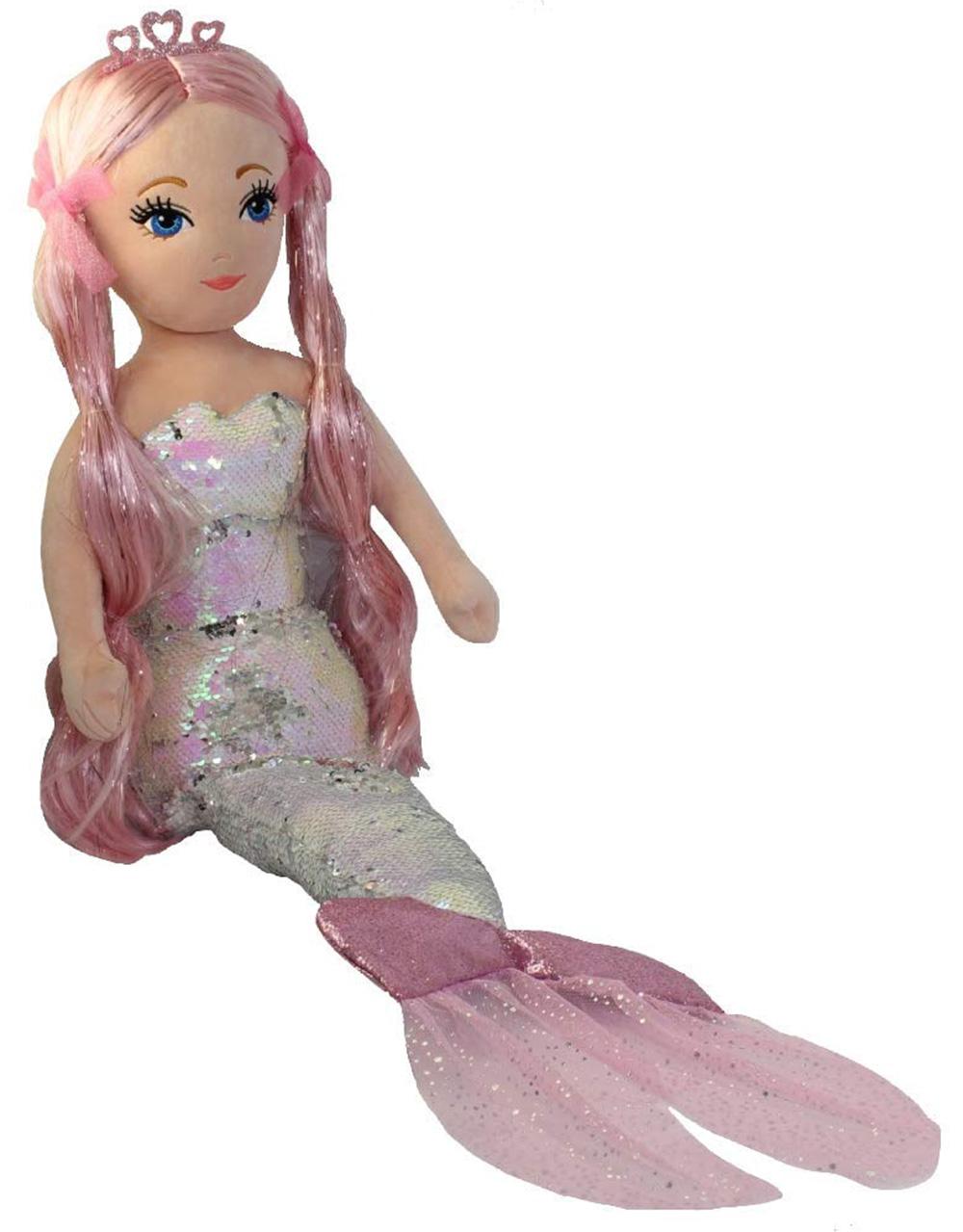 Ty CORA Pailletten Meerjungfrau mehrfarbig groß, Sea Sequins XXL mit Wende Pailletten 91 cm