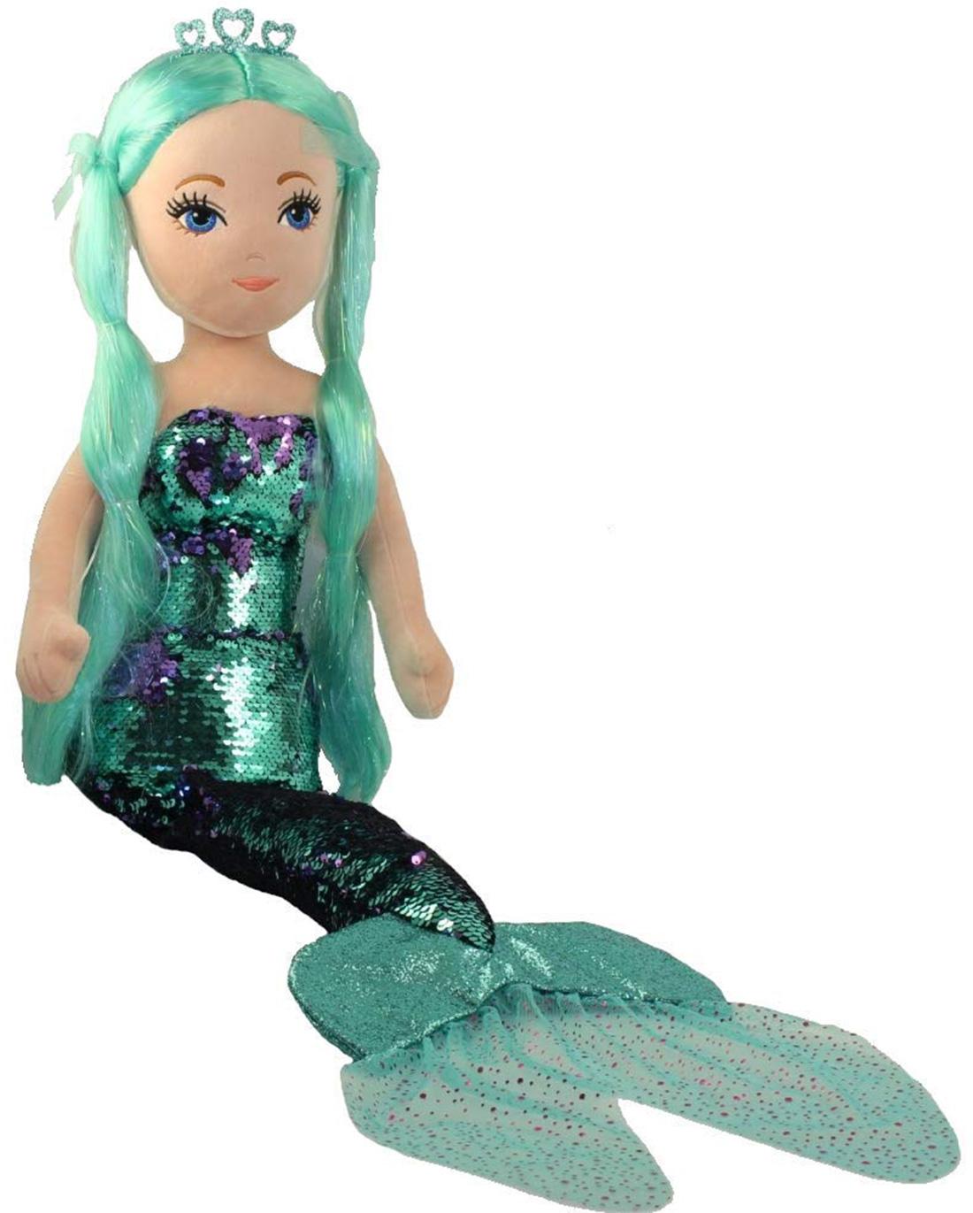 Ty Pailletten Meerjungfrau mehrfarbig groß, Waverly Teal Sea Sequins XXL mit Wende Pailletten 91 cm