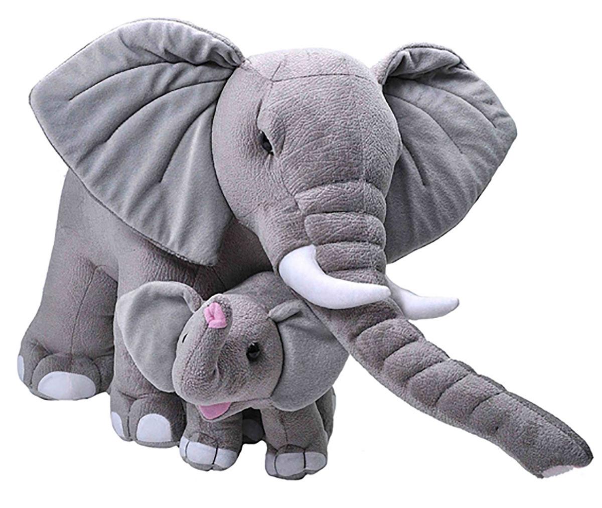 Jumbo Elefant Mom & Baby Mom ca.76cm und Baby ca.30cm by Wild Republic W24102 Plüschtier